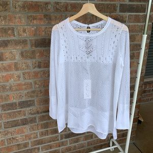 Wildfox White Perorated Tunic Top